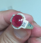 Magnificent 5.62ct Unheated Burma Ruby Ring GRS Certificate