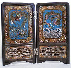 Japanese Cloisonne Table Screen