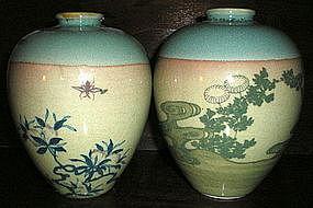 Pair of Satsuma Tea Dust Vases