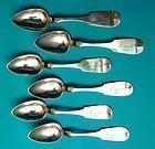 six coin silver teaspoons, J. Lewis