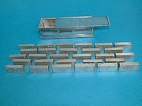 antique sterling silver dominoes, boxed set