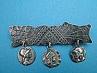 Frank Whiting MEDALLION bar pin with two dangling