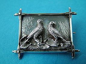 Victorian silver bird brooch