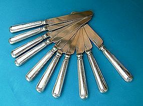 ten FIDDLE THREAD hollow handle all silver tea knives
