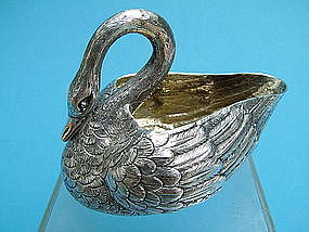 Louis Aucoc French silver swan form cream jug,Paris