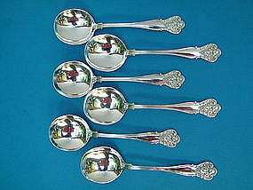 six Durgin NEW VINTAGE gumbo soup spoons,