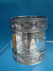 a good Gorham  (?) napkin ring with Islamic style