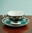 Silver Overlay Cup and Saucer