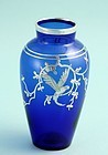 Blue Silver Overlay Vase with Parrot