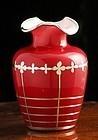 Cased Glass Silver Overlay Vase