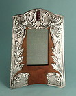 Art Nouveau Pewter, Wood and Art Glass Frame