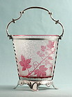 Art Nouveau Baccarat Cameo Glass & Silver Ice Cooler