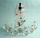 Enamel Glass Skiers Cocktail Set