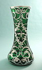 Large Art Nouveau Silver Overlay Vase