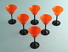 Art Deco Tango Glass Martini Goblets