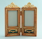 Antique French Gilded Metal and Wood Double Frame