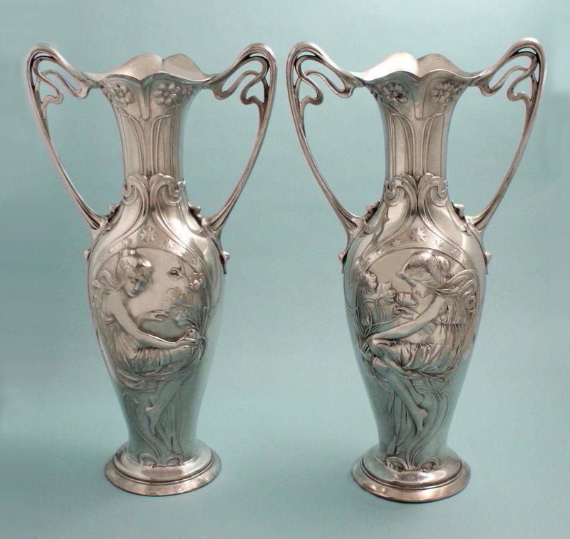 Pair of Large WMF Figural Art Nouveau Vases