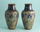 Pair Doulton Lambeth Vases