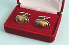 Mid-Century Silver and Tiger Eye Cufflinks