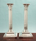 Antique English Silver Corinthian Column Candlesticks