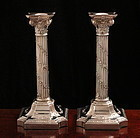 English Victorian Corinthian Column Candlesticks