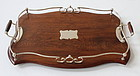 Antique English Wooden Gallery Tray