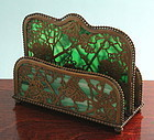 Tiffany Studios Bronze and Glass Grapevine Letter Rack