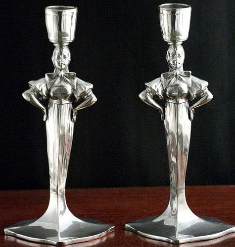 Figural Art Nouveau Pewter Candlesticks