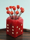 Bakelite Dice Cocktail Picks with Holder