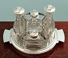 French Art Deco Silver and Crystal Cruet-Condiment Set