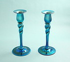 Steuben Blue Aurene Twist Candlesticks