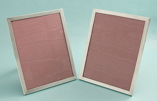 Pair Art Deco Silver Photo Frames