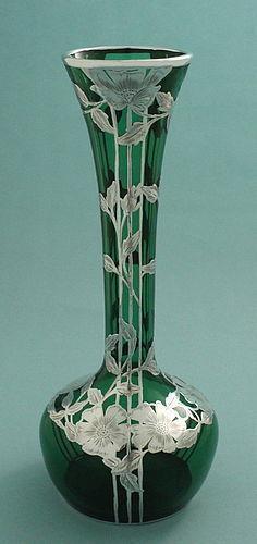 Tall Art Nouveau Silver Overlay Vase