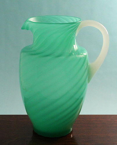 Steuben Green Jade and Alabaster Pitcher