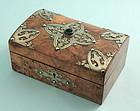 Victorian Walnut, Brass and Agate Box