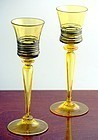 Steuben Yellow Reeded Goblets