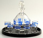 Czech Enamel Art Deco Decanter Set