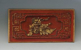 Hand Carved Chinese Wood Panel Red with Gold Gilt