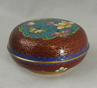 Round Chinese Cloisonne Box with Butterflies