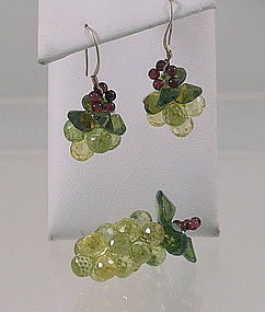 Peridot  Ruby Grape Cluster Pendant and Earrings