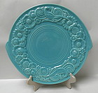 RARE Metlox Beau Line Turquoise Handled Cake Plate