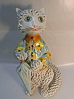 Tall Italian Spaghetti Cat with Umbrella Figurine