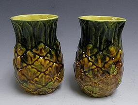 Metlox Pottery Pineapple Tumblers Mid Century