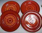 4 Metlox Red Medallion Poppytrail Dinner Plates