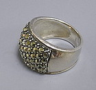Modern Marcasite and Sterling Silver Band Ring