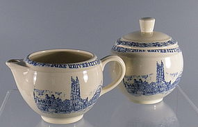 Duke University Sugar and Creamer Blue Transferware