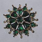 Eisenburg Emerald Green Rhinestone Brooch, Signed