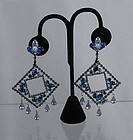 Weiss Runway Art Deco Rhinestone Dangle Earrings