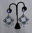 Weiss Runway Art Deco Rhinestone Dangle Earrings