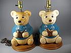 Vintage Metlox Teddy Bear Cookie Jar Lamps